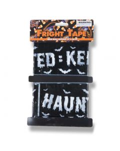 Haunted Keep Out Spooky Party Banner 20' Caution Tape, Black White, 2 CT