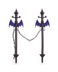 "12CT Bat Halloween Decoration 21"" Outdoor Yard Stake Fence w Chain, Black Purple"