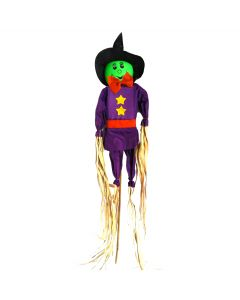 "Veil Entertainment Straw Halloween Scarecrow Witch 36"" Outdoor Prop, Green Black"