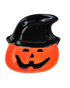 "Cute Cartoon Smiling Jack Pumpkin Halloween 4"" Candy Dish, Orange Black"