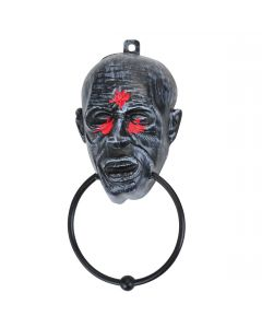 "Real Working Zombie Ghoul Metal Knocker 11"" x 5"" Hanging Decoration, Grey Red"