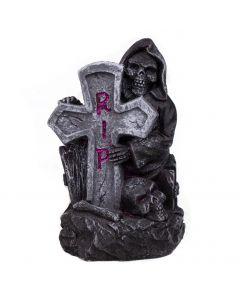 "RIP Skeleton Cross Headstone Mini Statue Halloween 5"" Table Decoration, Grey"