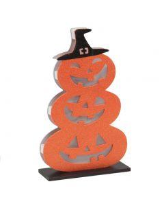 "Jack O Lantern Tower Pumpkin Light-Up Halloween 14"" x 7"" LED Decoration, Orange"