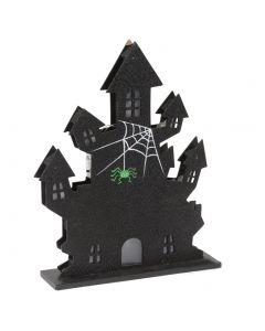 """Haunted House Light-Up Halloween Decor 14"""" x 9"""" LED Decoration, Black"""