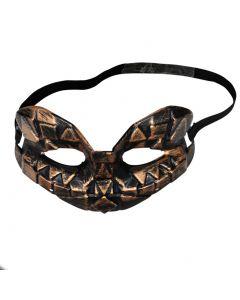 Medieval Knight Costume Battle Half Mask, Bronze Black, One-Size