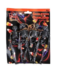 "Spooky Mini Hanging 6.5"" Skeletons Halloween Decor 4' Garland, Black"