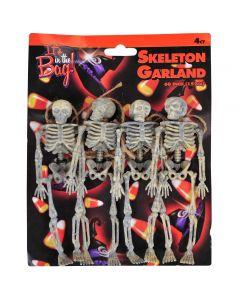 "Spooky Mini Hanging 6.5"" Skeletons Halloween Decor 4' Garland, Brown"