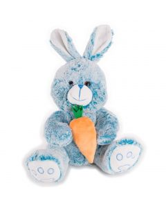 "Soft Stuffed Rabbit with Carrot Easter Bunny Boy 14"" Plush Animal, Blue"
