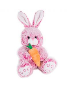 "Soft Stuffed Rabbit with Carrot Easter Bunny Girl 14"" Plush Animal, Pink"