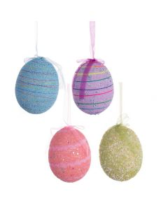 "Single Glittering Easter Egg 4"" Hanging Decoration"