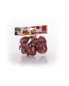 "Mini Plastic Gourd Fall Harvest Halloween 5"" Decoration Pack, Brown, 6 CT"