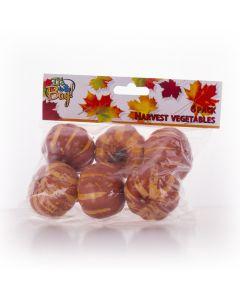 """Mini Plastic Pumpkin Fall Harvest Halloween 5"""" Decoration Pack, Brown, 6 CT"""