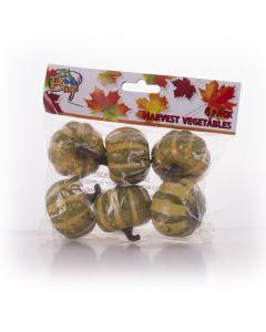 """Mini Plastic Pumpkin Fall Harvest Halloween 5"""" Decoration Pack, Green, 6 CT"""