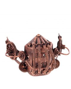 KBW Steampunk Costume Gears & Tubes Halloween Gas Mask, Bronze, One-Size