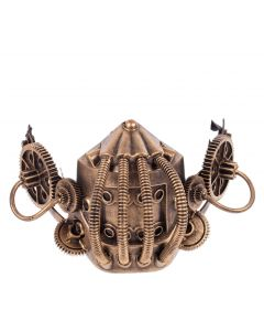 KBW Steampunk Costume Gears & Tubes Halloween Gas Mask, Gold, One-Size