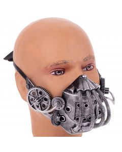 KBW Steampunk Costume Gears & Tubes Halloween Gas Mask, Silver, One-Size