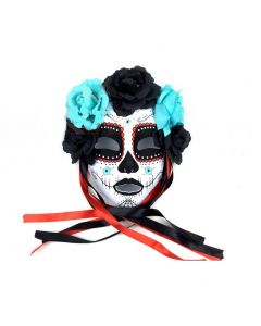 Day of The Dead Dark Flowers Face Mask, White Black, One Size