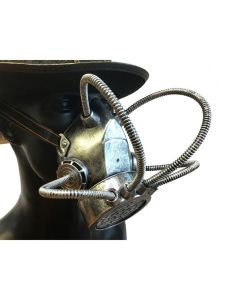 KBW Four Tubes Steampunk Halloween Costume Gas Mask, Silver Black, One-Size