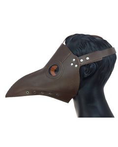 KBW Steampunk Plague Doctor Long Nose Leather Costume Face Mask, Brown, One-Size