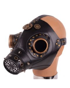 KBW Faux Leather Plague Doctor Goggles w Gears Gas Mask, Black Gold, One-Size