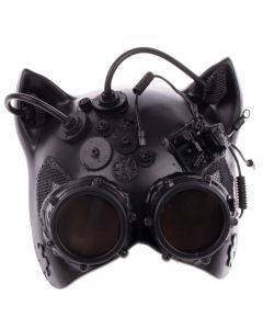 Halloween Steampunk Cosplay Cat with Goggles Half Mask, Black, One-Size