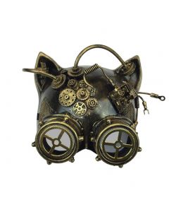 Halloween Steampunk Cosplay Cat with Goggles Face Mask, Gold, One Size 7in