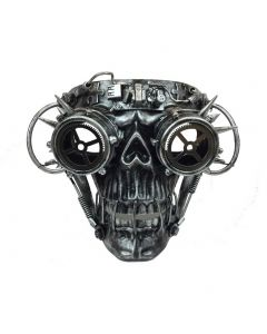 Halloween Steampunk Cosplay Skull with Goggles Face Mask, Silver, One Size 7in