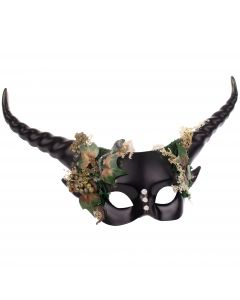 Horned Mystical Creature Fairytale Costume Half Mask, Black Green Gold, One-Size