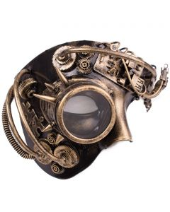 Steampunk Phantom With Monocle Masquerade Half Mask, Gold, One-Size adult