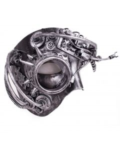 Steampunk Phantom With Monocle Masquerade Half Mask, Silver, One-Size adult