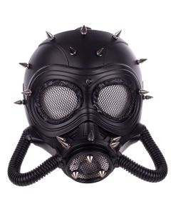 KBW Big-Eye Spike Studded Mesh Steampunk Face Mask, Black Silver, One-Size