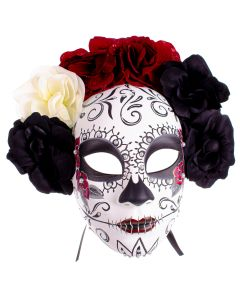 KBW Day of the Dead Floral Sugar Skull Face Mask, Black White Red, One-Size
