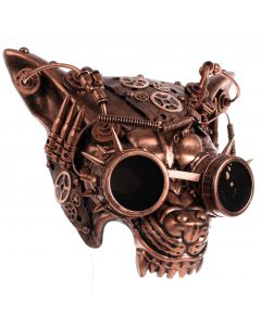 KBW Growling Wolf Mad Dog Steampunk Goggles Face Mask, One-Size, Copper Black