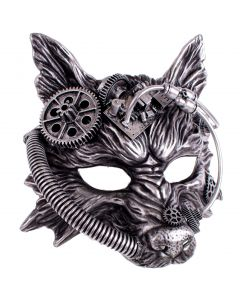 KBW Halloween Steampunk Wolf Costume Face Mask, Silver Black, One-Size