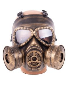 KBW Full Face Double Filter Steampunk Costume Gas Mask, Gold Black, One-Size