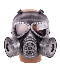 KBW Full Face Double Filter Steampunk Costume Gas Mask, Silver Black, One-Size