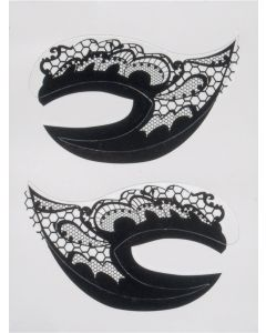 Sexy Fashionable Lace Design Eyes Costume Temporary Tattoo, Black, 2.75""