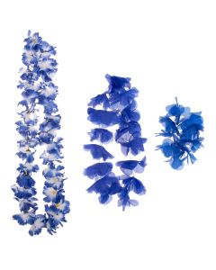 Summer Bright Luau Color Themed Hawaiian Flower 3pc Fabric Lei, Blue