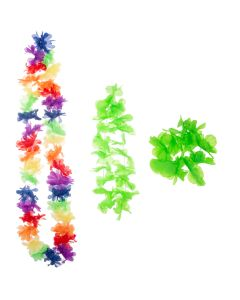 Summer Bright Luau Color Themed Hawaiian Flower 3pc Fabric Lei, Green