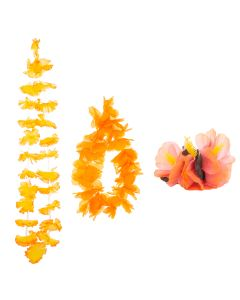 Summer Bright Luau Color Themed Hawaiian Flower 3pc Fabric Lei, Orange