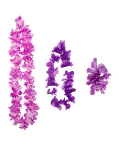 Summer Bright Luau Color Themed Hawaiian Flower 3pc Fabric Lei, Purple