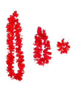 Summer Bright Luau Color Themed Hawaiian Flower 3pc Fabric Lei, Red