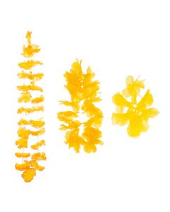 Summer Bright Luau Color Themed Hawaiian Flower 3pc Fabric Lei, Yellow
