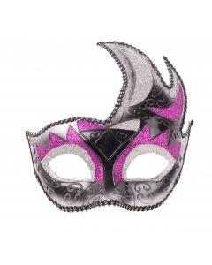 Fancy Masquerade Costume Mardi Gras Glitter Half Mask, Black Purple Silver