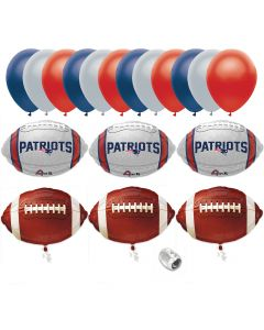 New England Patriots Playoffs Football Party Bouquet 18pc Balloon Pack, Navy Red