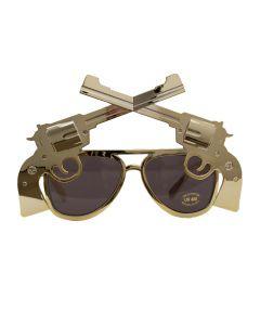 Six Shooter Cowboy Novelty Sunglasses, Gold Frame, Black Lens, OS