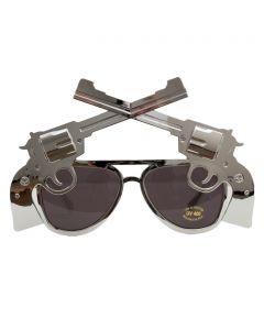 Six Shooter Cowboy Novelty Sunglasses, Silver Frame, Black Lens, OS