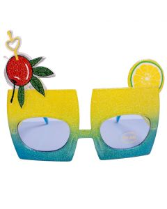 Glitter Tropical Drink Novelty Glasses, Blue Yellow Frame, Blue Lens, OS