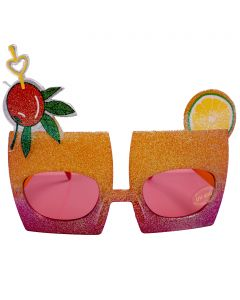 Glitter Tropical Drink Novelty Glasses, Orange Pink Frame, Pink Lens, OS