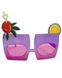 Glitter Tropical Drink Novelty Glasses, Purple Pink Frame, Pink Lens, OS